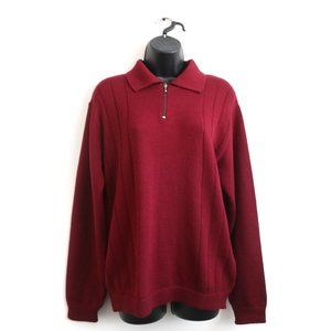 VINTAGE Paolo Bizzini 100% New Wool Red Quarter Zip Pullover Sweater Women's
